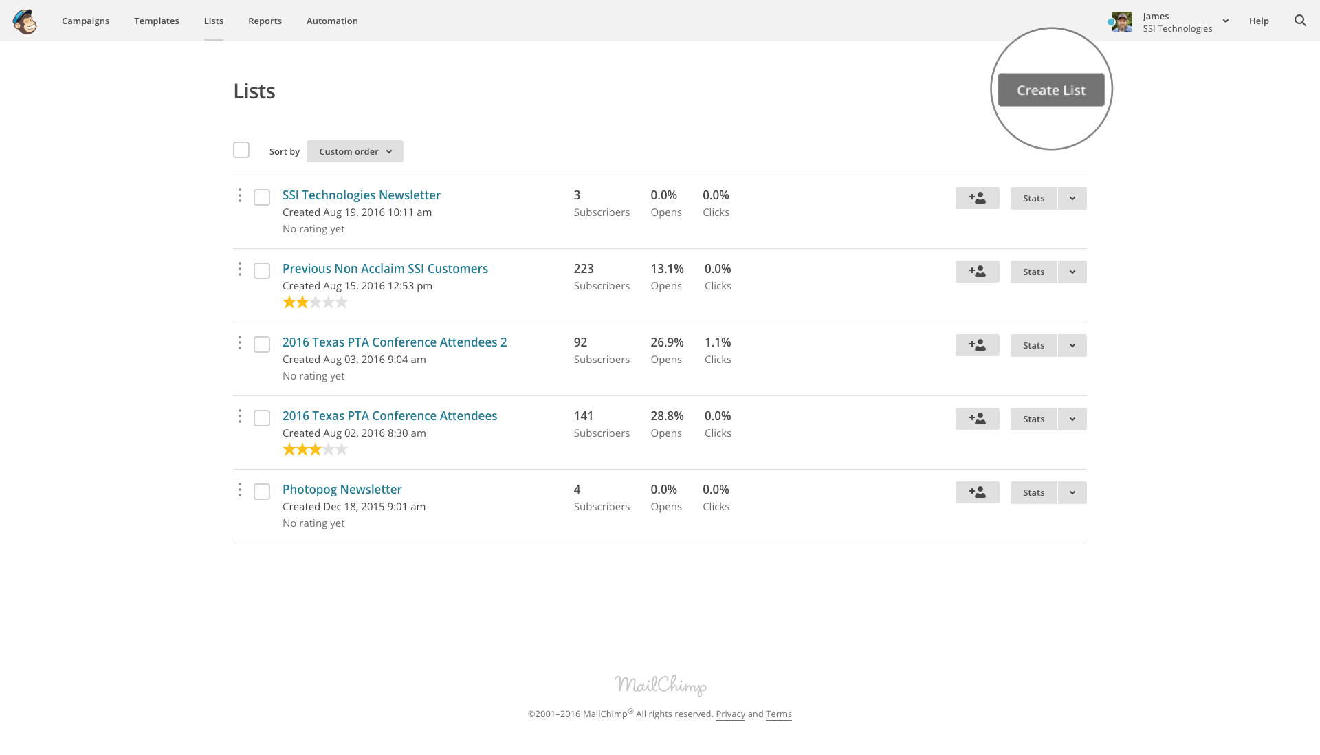 MailChimp admin screenshot with create list button highlighted
