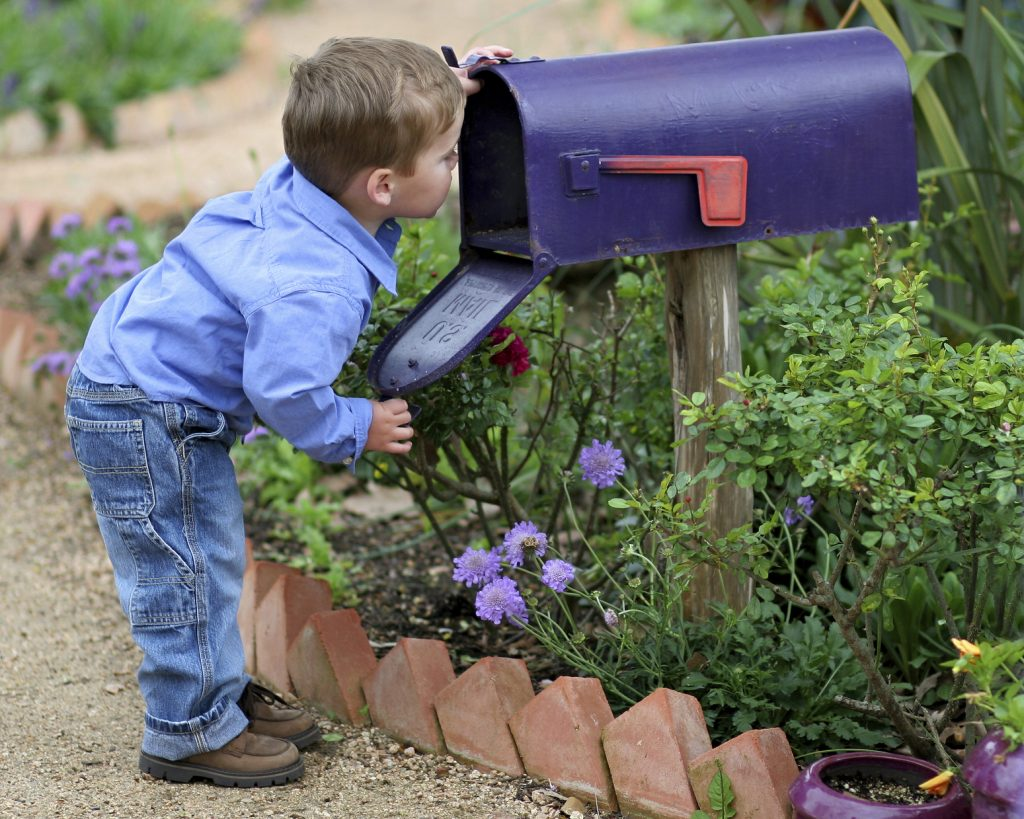 Little boy looking in mailbox