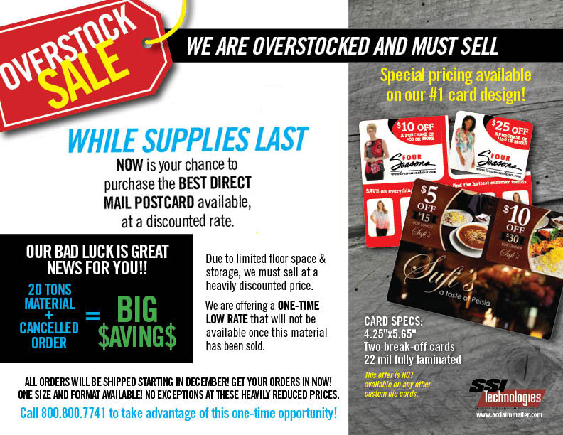 Discounted, Overstocked Direct Mail Plastic Postcards sale