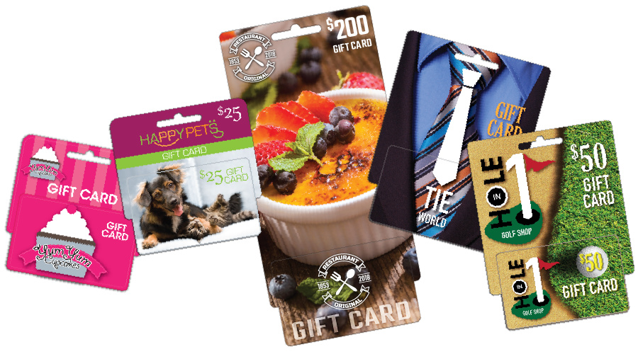 Small, Medium and Large hanging display gift cards